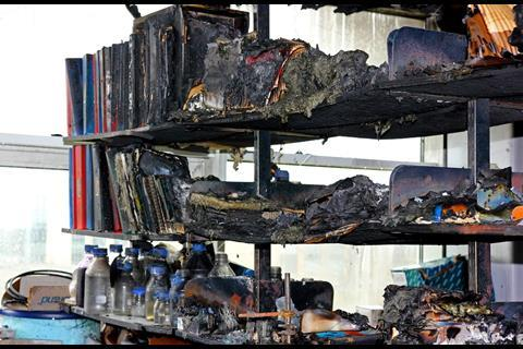 A picture showing melted shelves and books